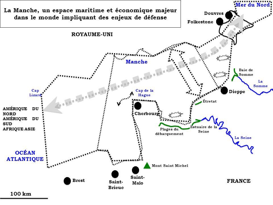 ROYAUME-UNI FRANCE Manche OCÉAN ATLANTIQUE Mer du Nord AMÉRIQUE DU NORD AMÉRIQUE DU SUD AFRIQUE ASIE Cap de la Hague Cap Lizard 100 km Brest Saint- Br