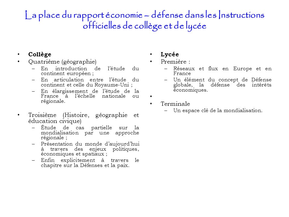 La place du rapport économie – défense dans les Instructions officielles de collège et de lycée Collège Quatrième (géographie) – En introduction de lé