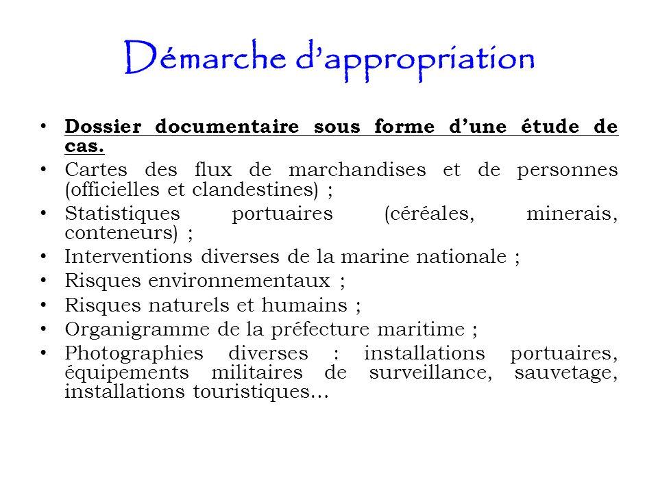 Démarche dappropriation Dossier documentaire sous forme dune étude de cas. Cartes des flux de marchandises et de personnes (officielles et clandestine