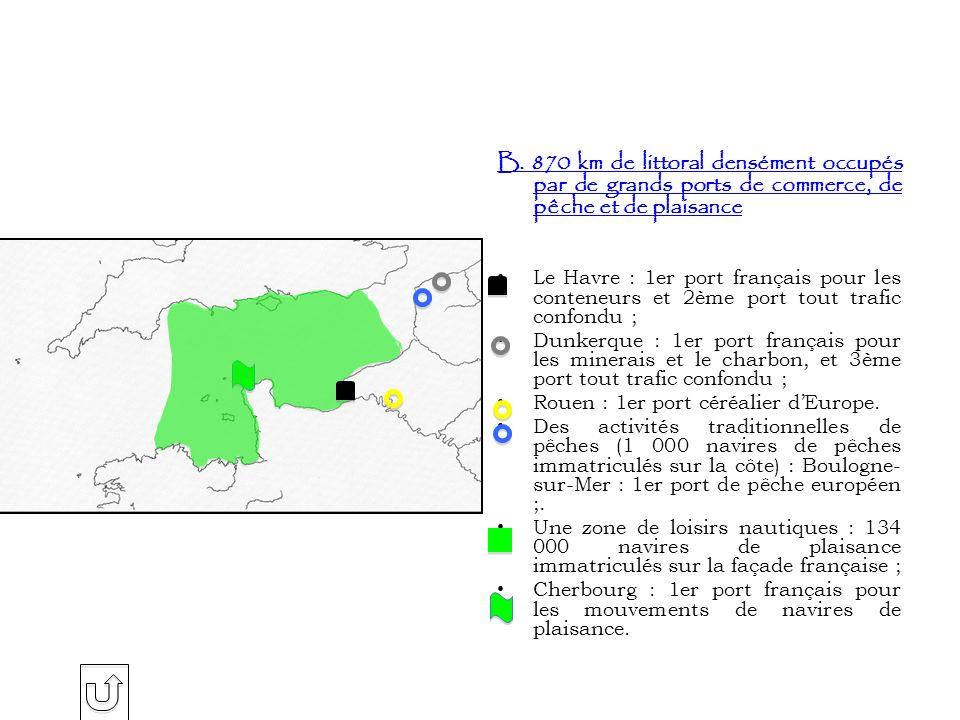 B. 870 km de littoral densément occupés par de grands ports de commerce, de pêche et de plaisance Le Havre : 1er port français pour les conteneurs et