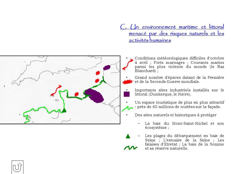 C. Un environnement maritime et littoral menacé par des risques naturels et les activités humaines Conditions météorologiques difficiles d'octobre à a
