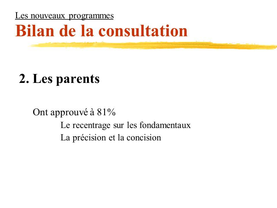 Les nouveaux programmes Bilan de la consultation 2. Les parents Ont approuvé à 81% Le recentrage sur les fondamentaux La précision et la concision