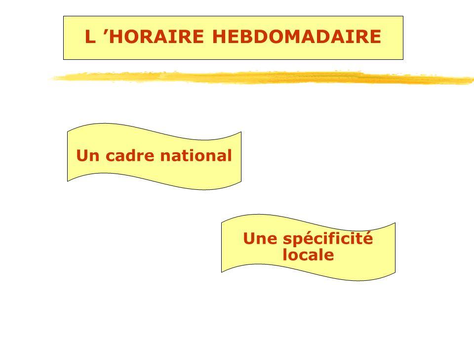 L HORAIRE HEBDOMADAIRE Un cadre national Une spécificité locale