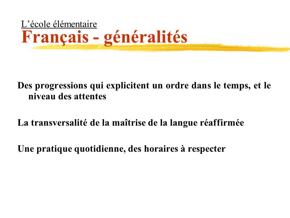 Lécole élémentaire Français - généralités Des progressions qui explicitent un ordre dans le temps, et le niveau des attentes La transversalité de la m