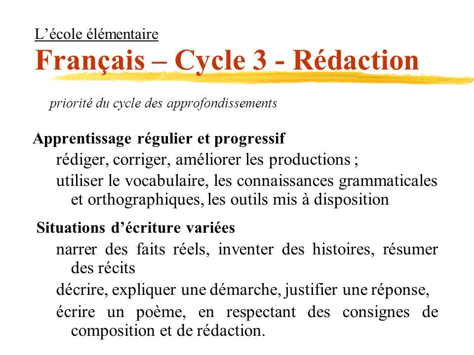 Lécole élémentaire Français – Cycle 3 - Rédaction priorité du cycle des approfondissements Apprentissage régulier et progressif rédiger, corriger, amé