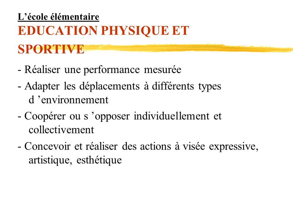 Lécole élémentaire EDUCATION PHYSIQUE ET SPORTIVE - Réaliser une performance mesurée - Adapter les déplacements à différents types d environnement - C