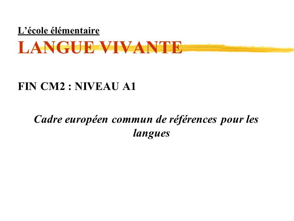 Lécole élémentaire LANGUE VIVANTE FIN CM2 : NIVEAU A1 Cadre européen commun de références pour les langues