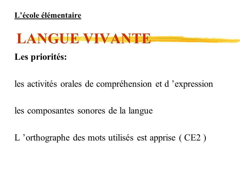 Lécole élémentaire LANGUE VIVANTE Les priorités: les activités orales de compréhension et d expression les composantes sonores de la langue L orthogra