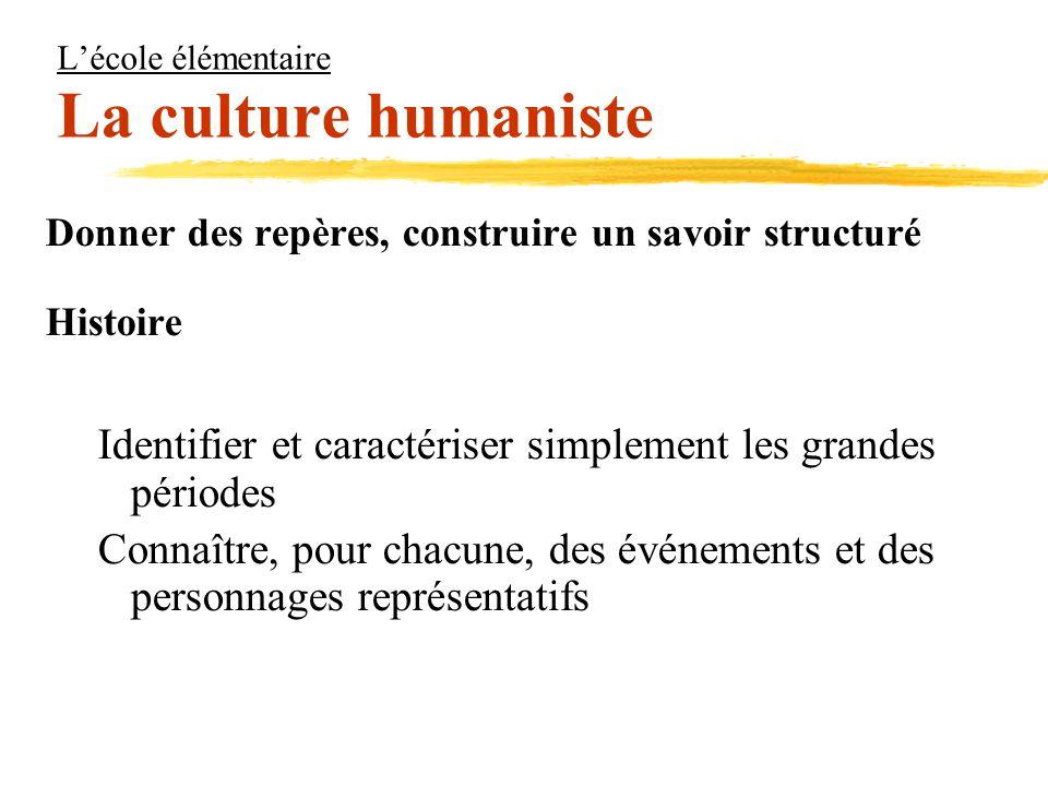 Lécole élémentaire La culture humaniste Donner des repères, construire un savoir structuré Histoire Identifier et caractériser simplement les grandes