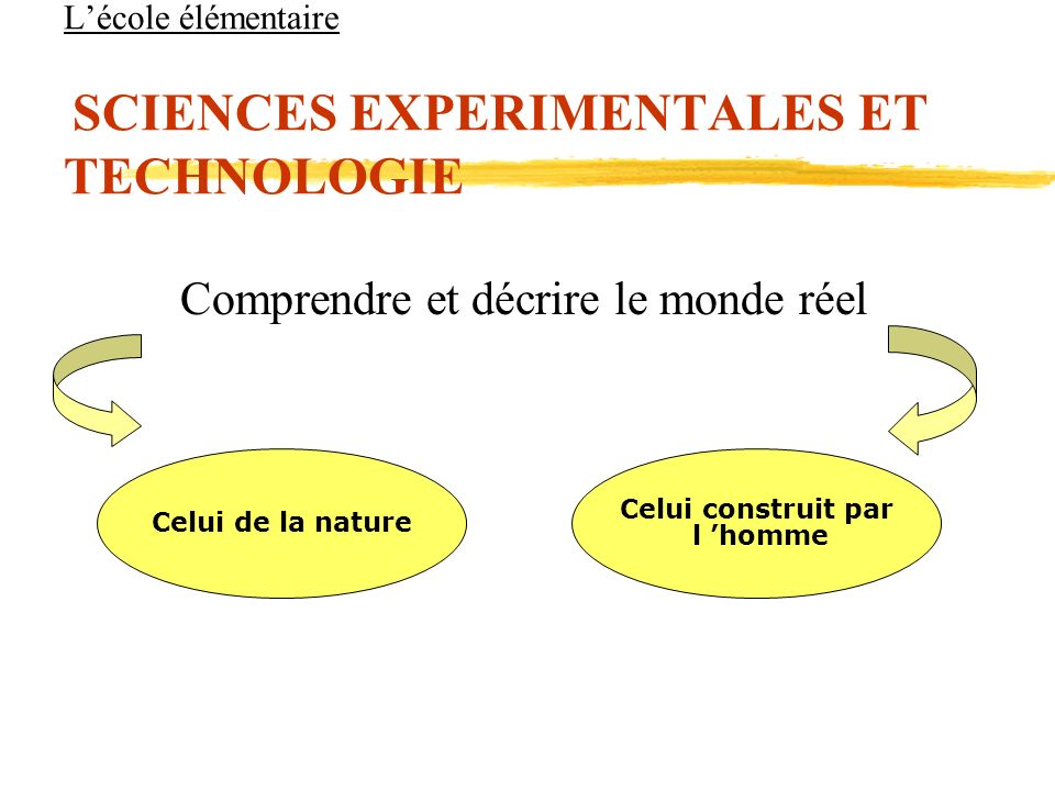Lécole élémentaire SCIENCES EXPERIMENTALES ET TECHNOLOGIE Comprendre et décrire le monde réel Celui de la nature Celui construit par l homme