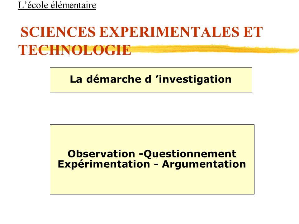 Lécole élémentaire SCIENCES EXPERIMENTALES ET TECHNOLOGIE La démarche d investigation Observation -Questionnement Expérimentation - Argumentation