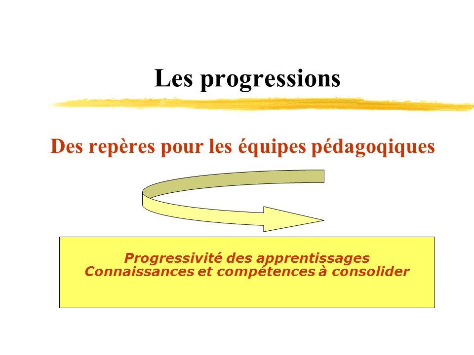 Les progressions Des repères pour les équipes pédagoqiques Progressivité des apprentissages Connaissances et compétences à consolider