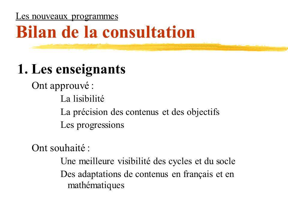 Les nouveaux programmes Bilan de la consultation 1. Les enseignants Ont approuvé : La lisibilité La précision des contenus et des objectifs Les progre
