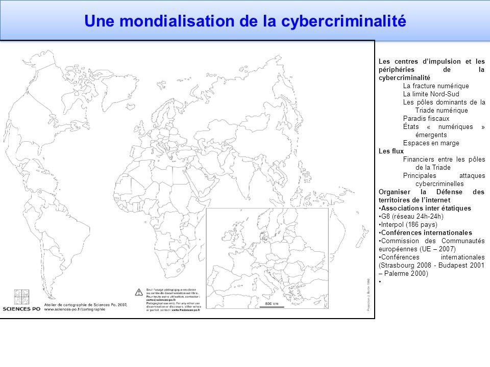 Une mondialisation de la cybercriminalité Les centres dimpulsion et les périphéries de la cybercriminalité La fracture numérique La limite Nord-Sud Le