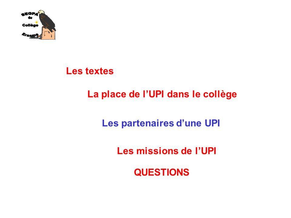 Les textes La place de lUPI dans le collège Les partenaires dune UPI Les missions de lUPI QUESTIONS