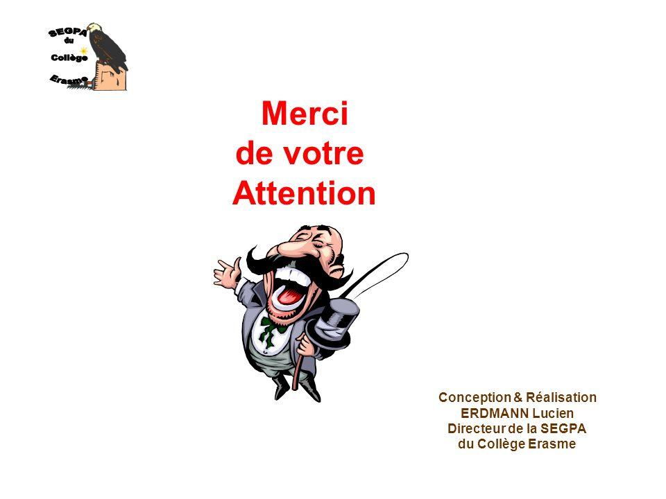Merci de votre Attention Conception & Réalisation ERDMANN Lucien Directeur de la SEGPA du Collège Erasme