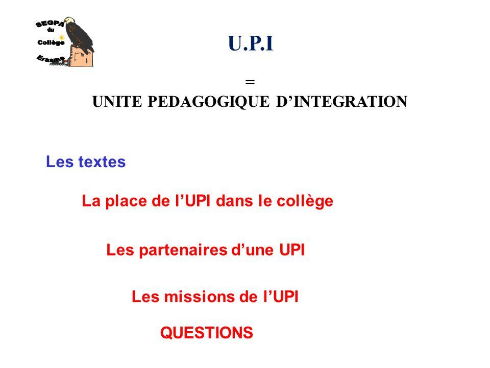 U.P.I = UNITE PEDAGOGIQUE DINTEGRATION Les textes La place de lUPI dans le collège Les partenaires dune UPI Les missions de lUPI QUESTIONS