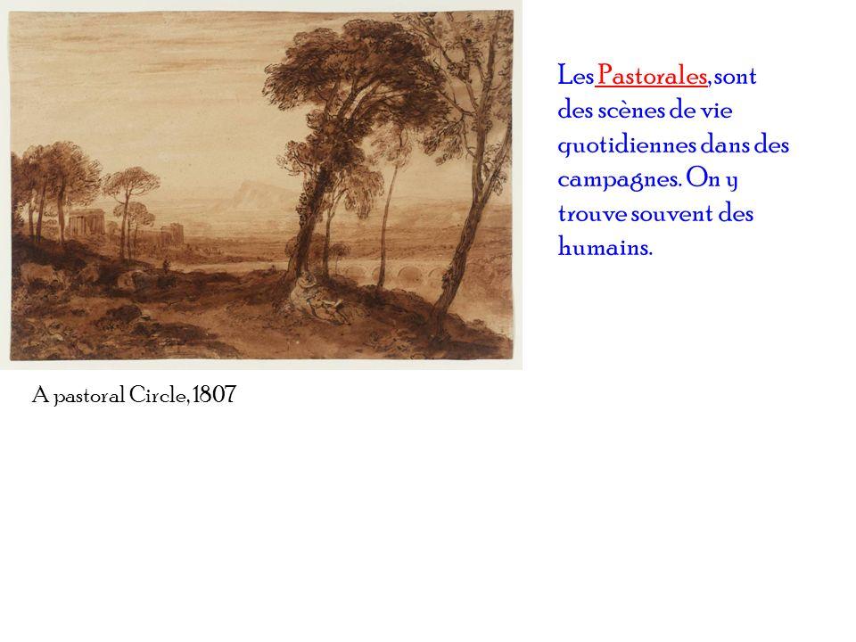 A pastoral Circle, 1807 Les Pastorales, sont des scènes de vie quotidiennes dans des campagnes. On y trouve souvent des humains.