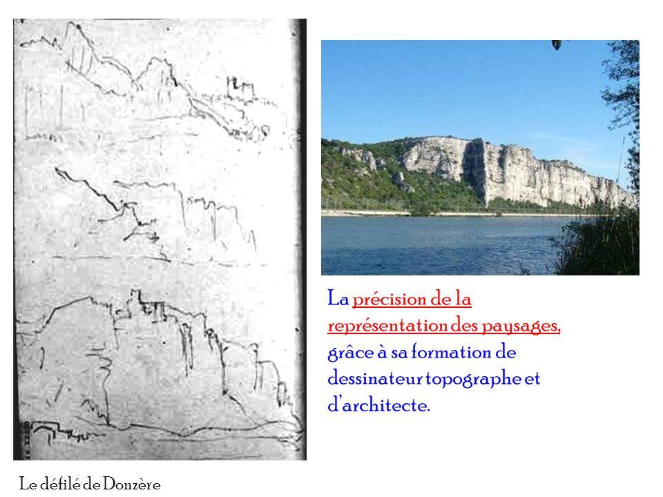 Le défilé de Donzère La précision de la représentation des paysages, grâce à sa formation de dessinateur topographe et darchitecte.