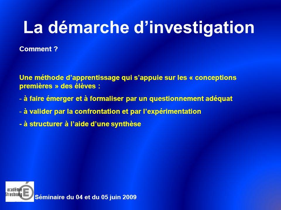 La démarche dinvestigation Comment .