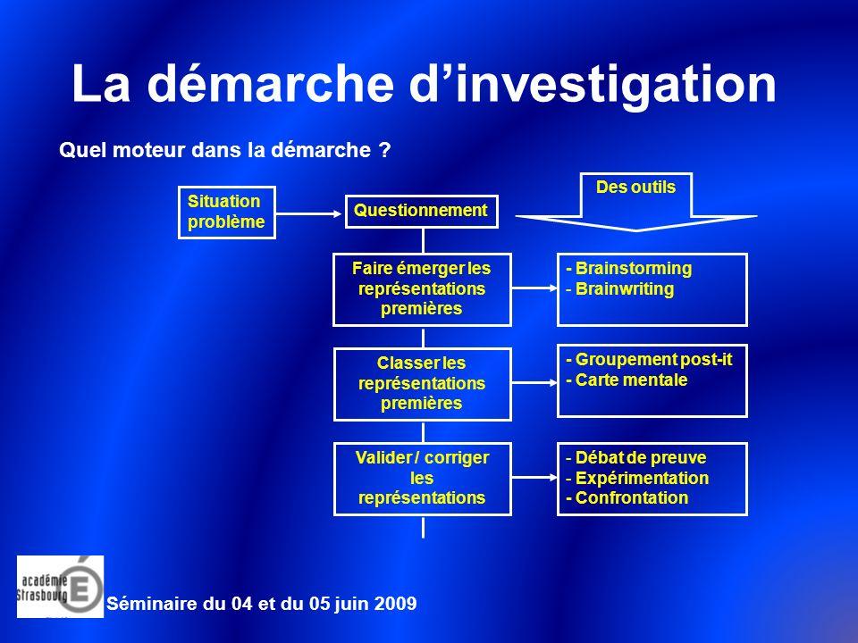 La démarche dinvestigation Exemple de simulation du déroulement dune séance Séminaire du 04 et du 05 juin 2009 Situation problème Comment assurer la stabilité du tablier du pont .