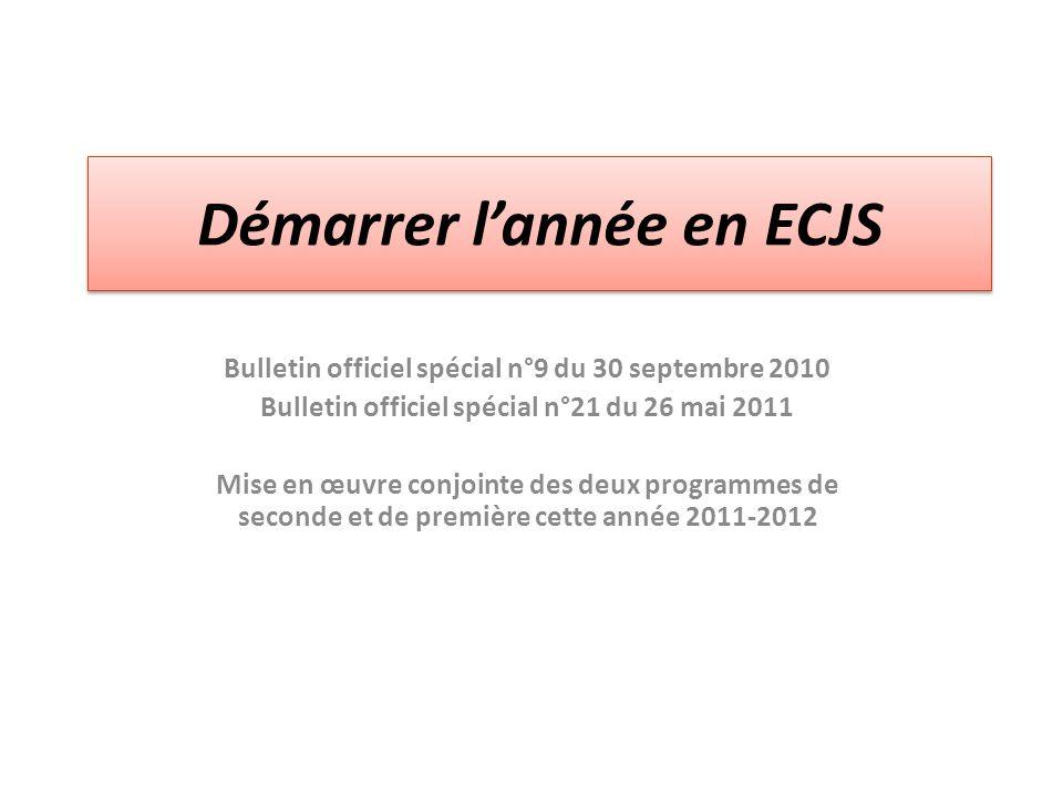 Démarrer lannée en ECJS Bulletin officiel spécial n°9 du 30 septembre 2010 Bulletin officiel spécial n°21 du 26 mai 2011 Mise en œuvre conjointe des d