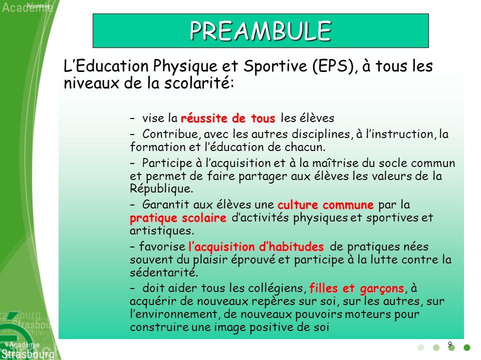 PREAMBULE LEducation Physique et Sportive (EPS), à tous les niveaux de la scolarité: réussite de tous – vise la réussite de tous les élèves – Contribu
