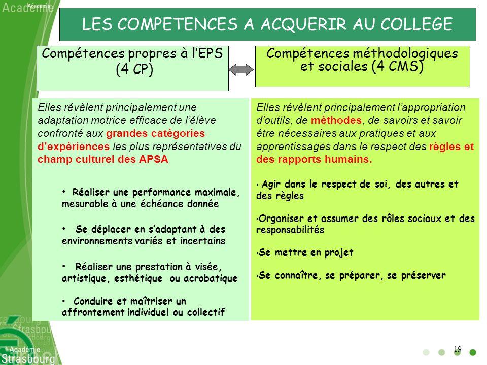 LES COMPETENCES A ACQUERIR AU COLLEGE Compétences propres à lEPS (4 CP) Compétences méthodologiques et sociales (4 CMS) Elles révèlent principalement