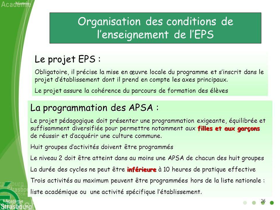 Organisation des conditions de lenseignement de lEPS Le projet EPS : Obligatoire, il précise la mise en œuvre locale du programme et sinscrit dans le