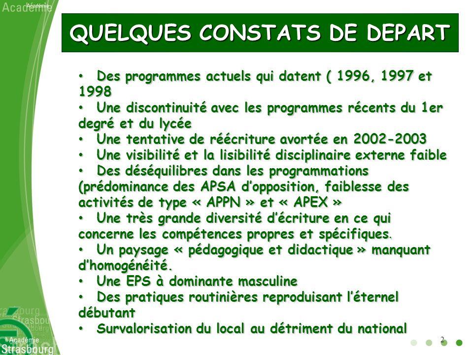 QUELQUES CONSTATS DE DEPART Des programmes actuels qui datent ( 1996, 1997 et 1998 Des programmes actuels qui datent ( 1996, 1997 et 1998 Une disconti