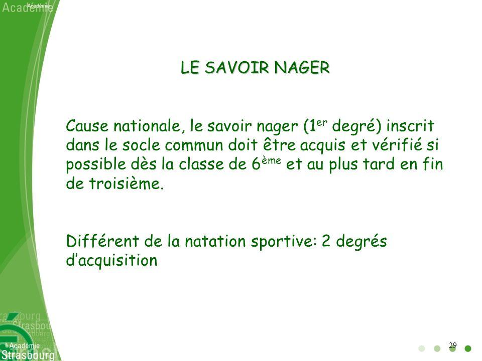 LE SAVOIR NAGER Cause nationale, le savoir nager (1 er degré) inscrit dans le socle commun doit être acquis et vérifié si possible dès la classe de 6