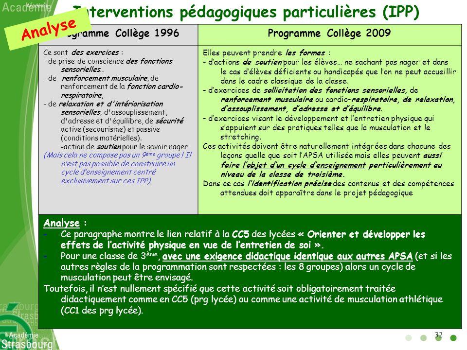 Interventions pédagogiques particulières (IPP) Programme Collège 1996Programme Collège 2009 Ce sont des exercices : - de prise de conscience des fonct