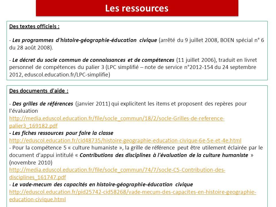 Les ressources Des textes officiels : - Les programmes d'histoire-géographie-éducation civique (arrêté du 9 juillet 2008, BOEN spécial n° 6 du 28 août