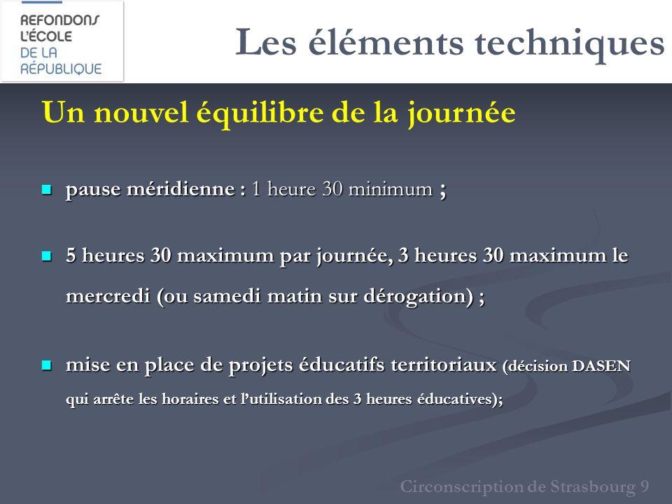 Les éléments techniques pause méridienne : 1 heure 30 minimum ; pause méridienne : 1 heure 30 minimum ; 5 heures 30 maximum par journée, 3 heures 30 m