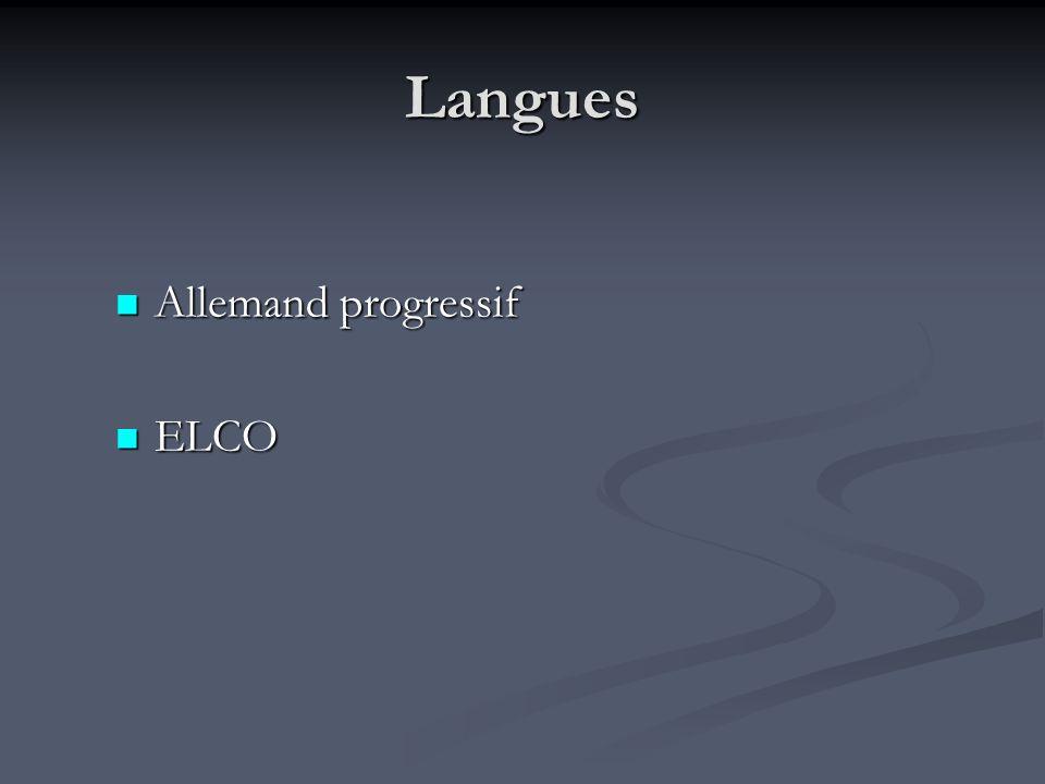 Langues Allemand progressif Allemand progressif ELCO ELCO