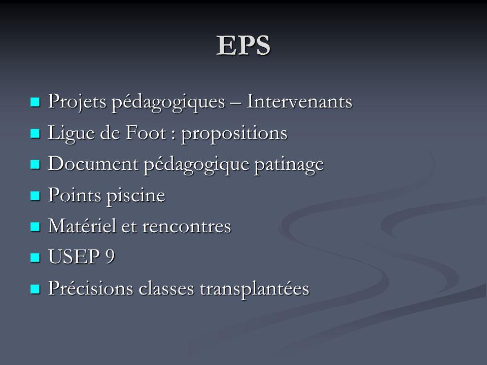 EPS Projets pédagogiques – Intervenants Projets pédagogiques – Intervenants Ligue de Foot : propositions Ligue de Foot : propositions Document pédagog