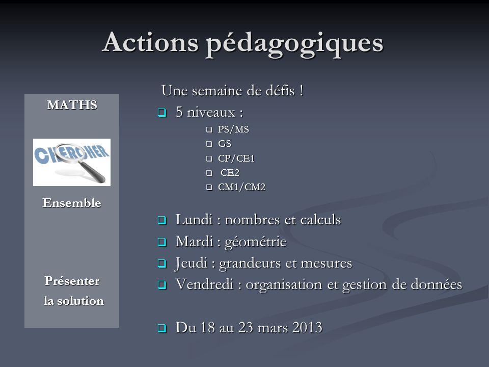 Actions pédagogiques MATHS Ensemble Présenter la solution Une semaine de défis ! Une semaine de défis ! 5 niveaux : 5 niveaux : PS/MS PS/MS GS GS CP/C