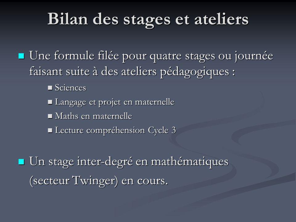 Bilan des stages et ateliers Une formule filée pour quatre stages ou journée faisant suite à des ateliers pédagogiques : Une formule filée pour quatre