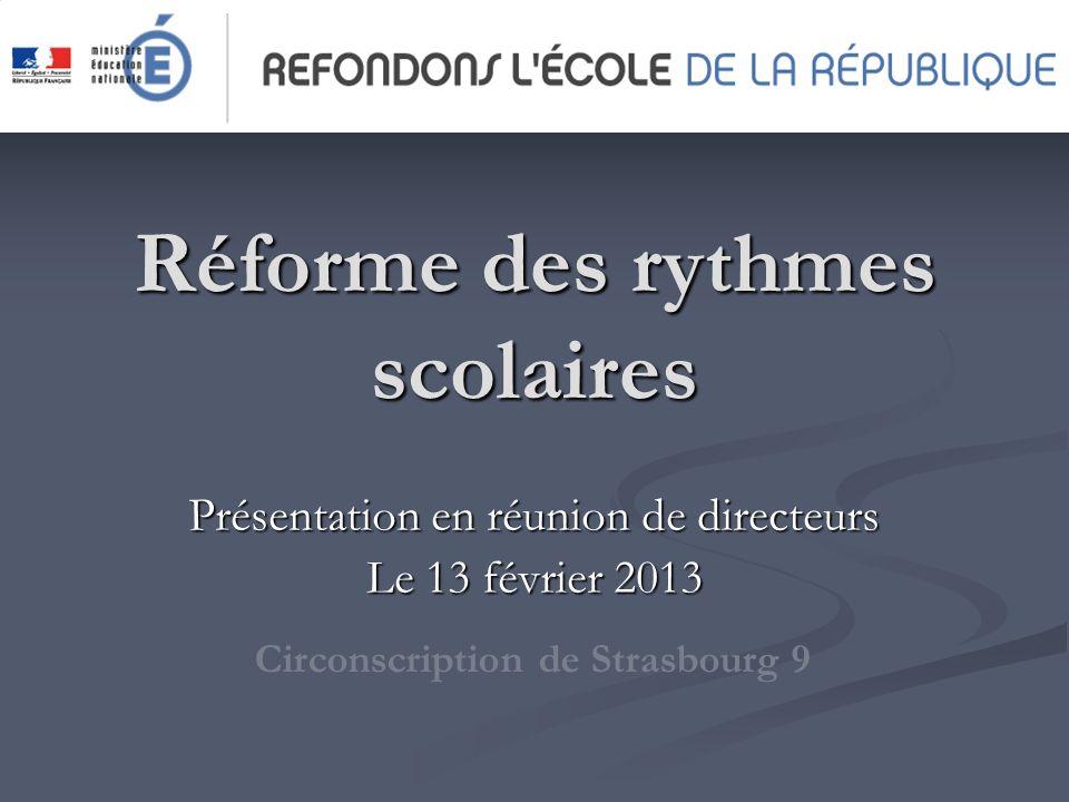 Réforme des rythmes scolaires Présentation en réunion de directeurs Le 13 février 2013 Circonscription de Strasbourg 9