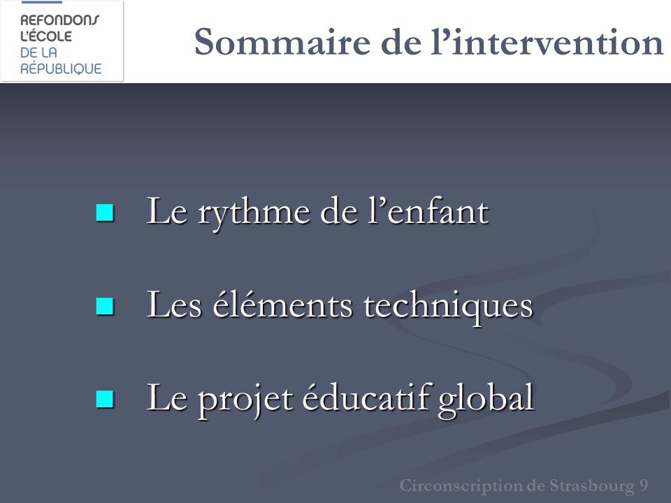Sommaire de lintervention Le rythme de lenfant Le rythme de lenfant Les éléments techniques Les éléments techniques Le projet éducatif global Le proje