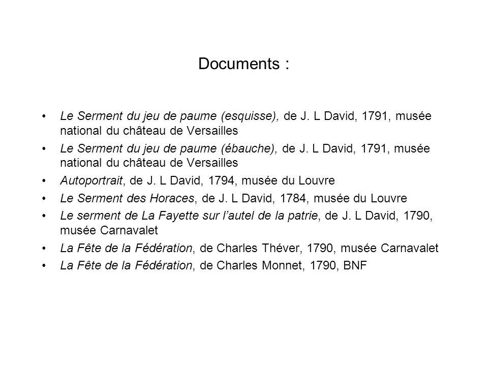 Documents : Le Serment du jeu de paume (esquisse), de J. L David, 1791, musée national du château de Versailles Le Serment du jeu de paume (ébauche),
