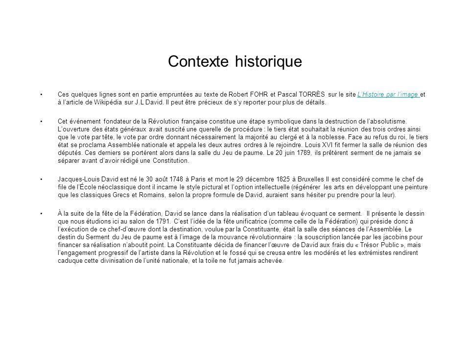 Contexte historique Ces quelques lignes sont en partie empruntées au texte de Robert FOHR et Pascal TORRÈS sur le site LHistoire par limage et à larti