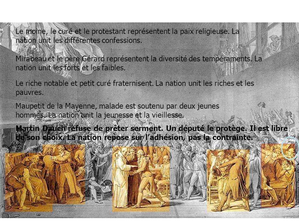 Le moine, le curé et le protestant représentent la paix religieuse. La nation unit les différentes confessions. Mirabeau et le père Gérard représenten