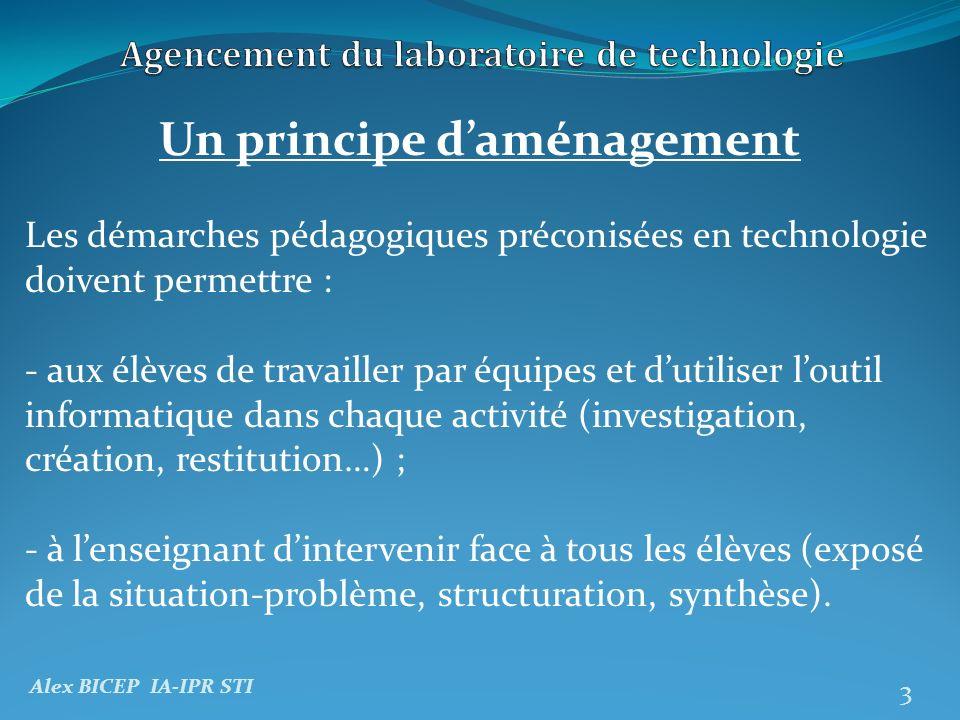 Alex BICEP IA-IPR STI 3 Un principe daménagement Les démarches pédagogiques préconisées en technologie doivent permettre : - aux élèves de travailler