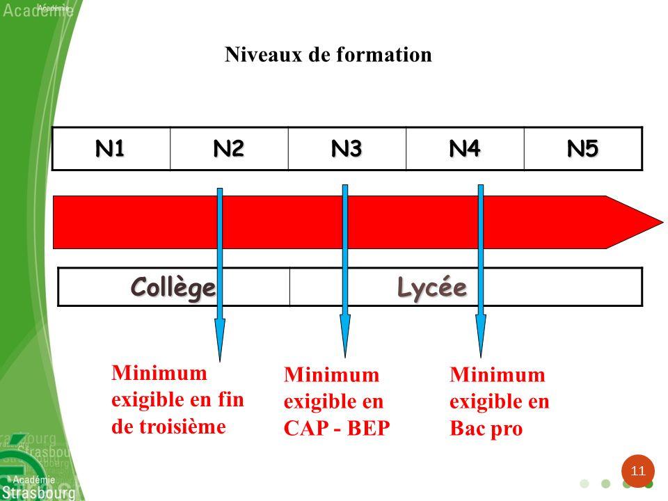 N1N2N3N4N5 Collège Lycée Lycée Minimum exigible en CAP - BEP Minimum exigible en Bac pro Niveaux de formation Minimum exigible en fin de troisième 11