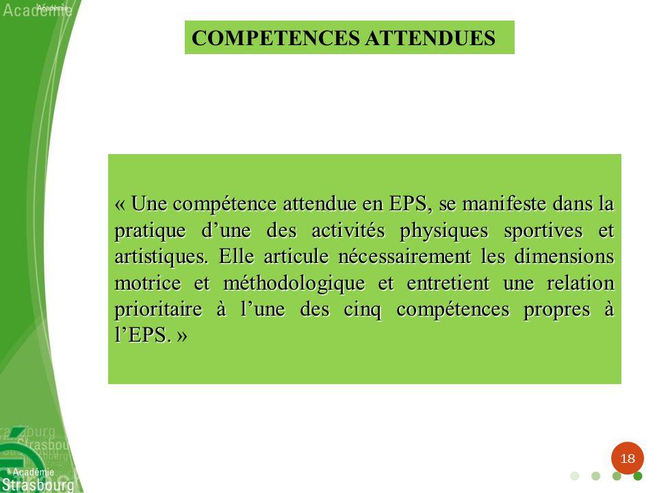 COMPETENCES ATTENDUES Une compétence attendue en EPS, se manifeste dans la pratique dune des activités physiques sportives et artistiques. Elle articu