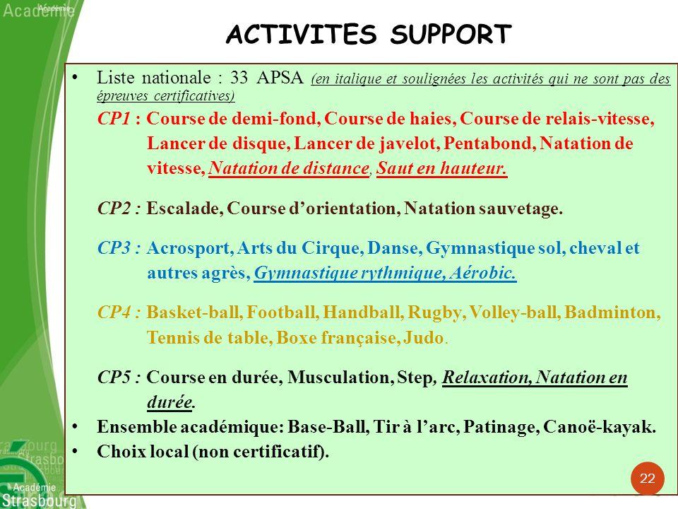 Liste nationale : 33 APSA (en italique et soulignées les activités qui ne sont pas des épreuves certificatives) CP1 : Course de demi-fond, Course de h