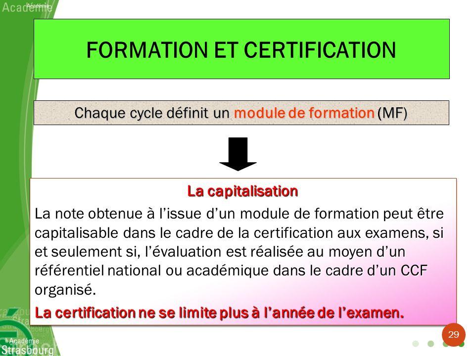 FORMATION ET CERTIFICATION Chaque cycle définit un module de formation (MF) La capitalisation La note obtenue à lissue dun module de formation peut êt