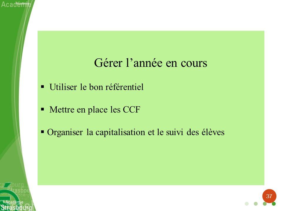 Gérer lannée en cours Utiliser le bon référentiel Mettre en place les CCF Organiser la capitalisation et le suivi des élèves 37