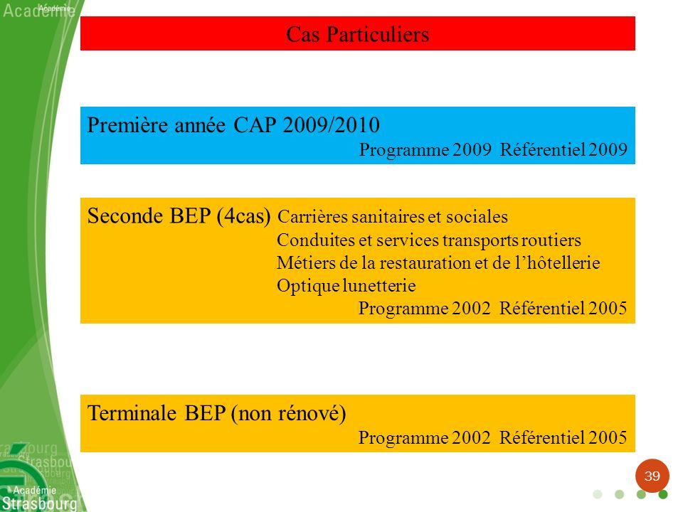 Cas Particuliers Première année CAP 2009/2010 Programme 2009 Référentiel 2009 Seconde BEP (4cas) Carrières sanitaires et sociales Conduites et service